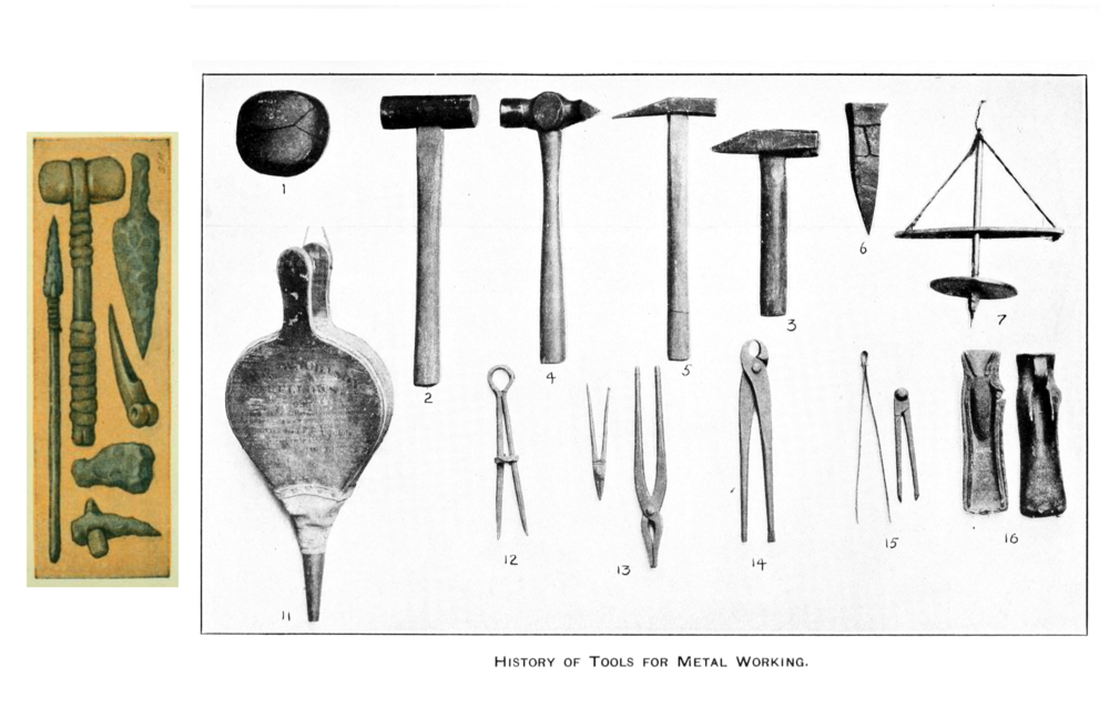 Tools from the Stone age (left) gave way to those required for metal work in the Bronze and Iron ages (above).   Patrick Gray/Flickr  (CC BY 2.0) and  Wikimedia Commons  (public domain)