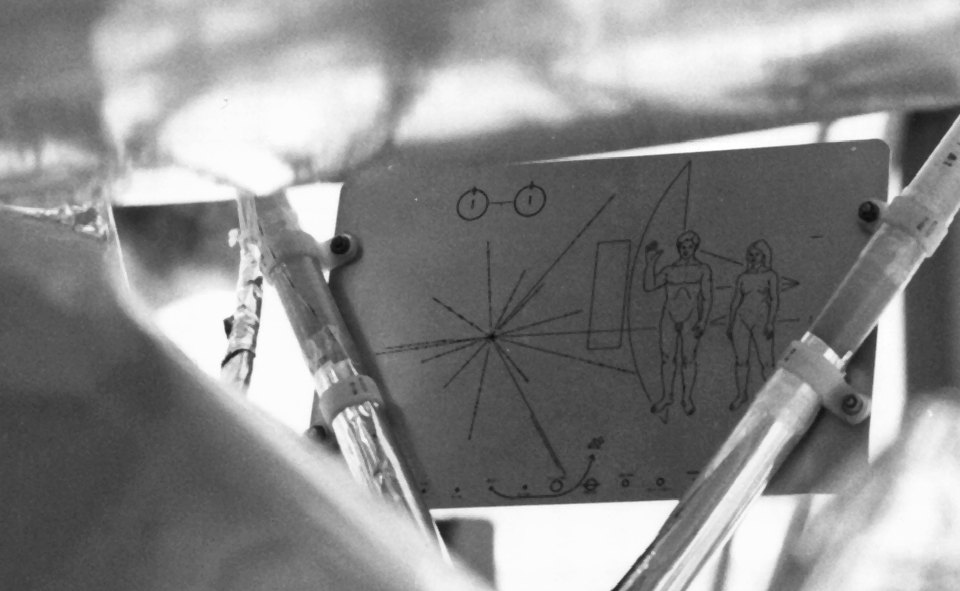 The Pioneer plaque created by Carl Sagan and Frank Drake not only describes what humans look like, it also gives directions to extra terrestrial life on how to find our Solar System .  NASA on The Commons/Flickr  (public domain)