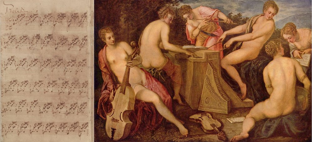 Sheet music for the first prelude of Bach's 'The well-tempered clavier' (left), showing the kinds of repetitions we find in musical sequences throughout history; 'Women Playing Music', by Jacopo Tintoretto, from the 16th century (right). Johann Sebastian Bach/Wikimedia Commons (public domain); The Yorck Project/Wikimedia Commons (public domain)