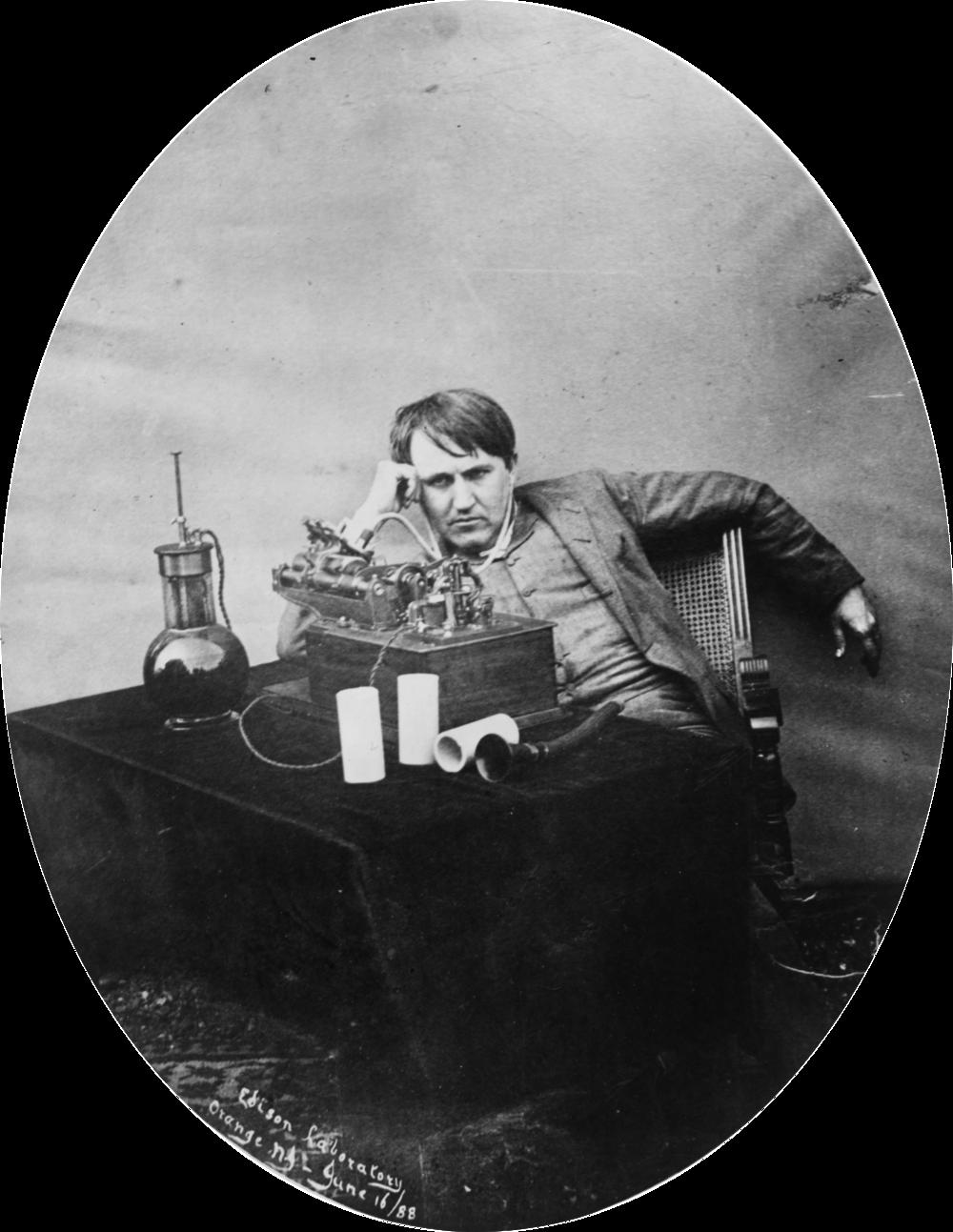 Thomas Edison listening to wax cylindrical units (1888). Wikimedia Commons (public domain)