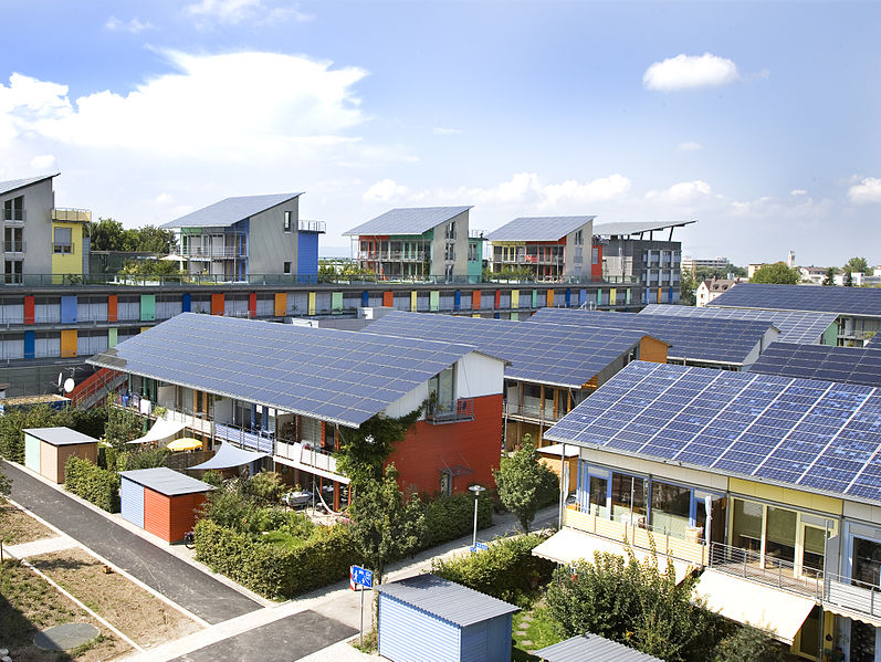 The 'Solar Settlement' in Germany was designed by a solar architect to create a neighbourhood with positive energy balance and emissions free.   Andrewglaser (talk)/Wikimedia Commons  (CC BY-SA 3.0)