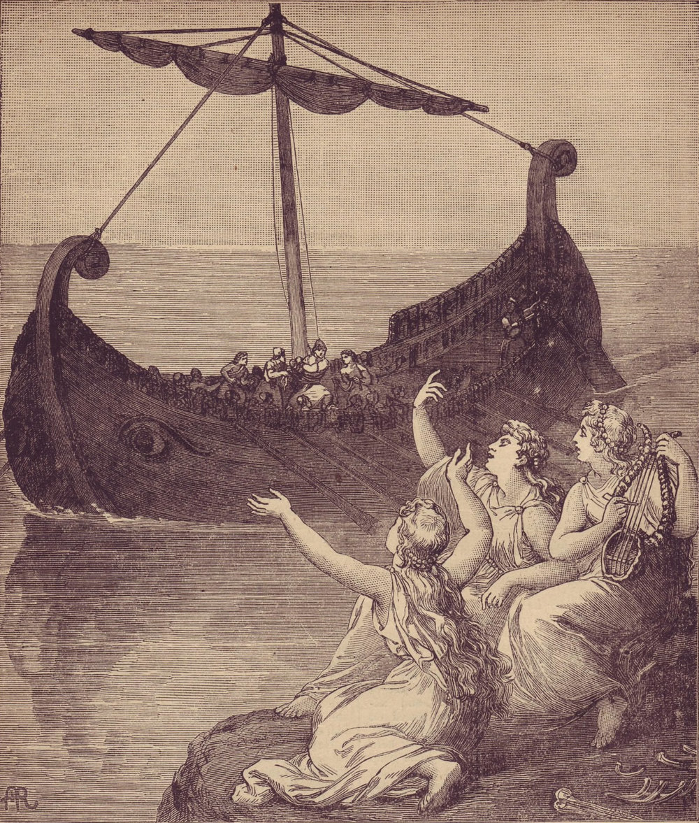 This woodcut etching (circa 1886) depicts the sirens calling to Odysseus and his crew.   Wikimedia Commons  (public domain)