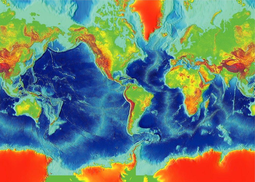Mid-ocean ridges mark the boundaries of many tectonic plates.   NOAA/Wikimedia Commons  (public domain)