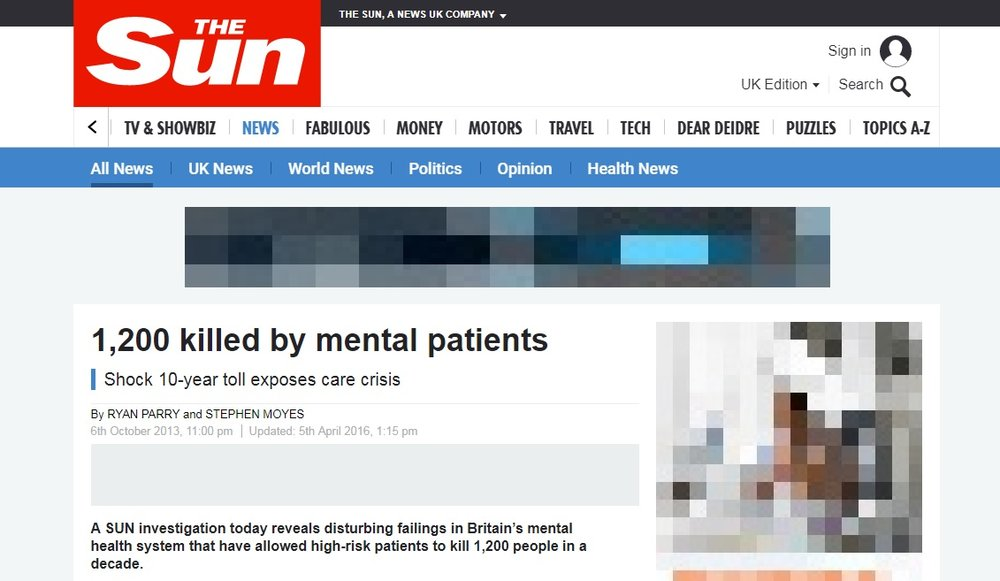 Articles that place mental illness and violence alongside each other perpetuate the idea that mentally ill people are dangerous and violent.  ©  The Sun