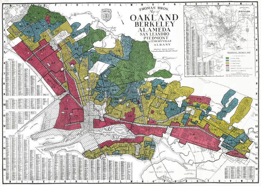 The HOLC residential security map for Oakland, California.   Mapping Inequality  (CC BY-SA 4.0)
