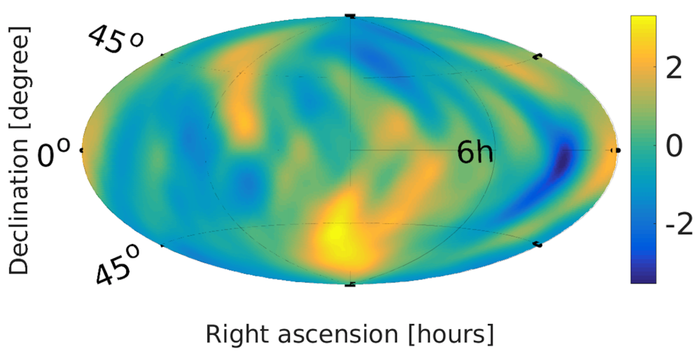 Map of the gravitational wave background signal across the sky.       LIGO Lab/Caltech/MIT (Public Domain)