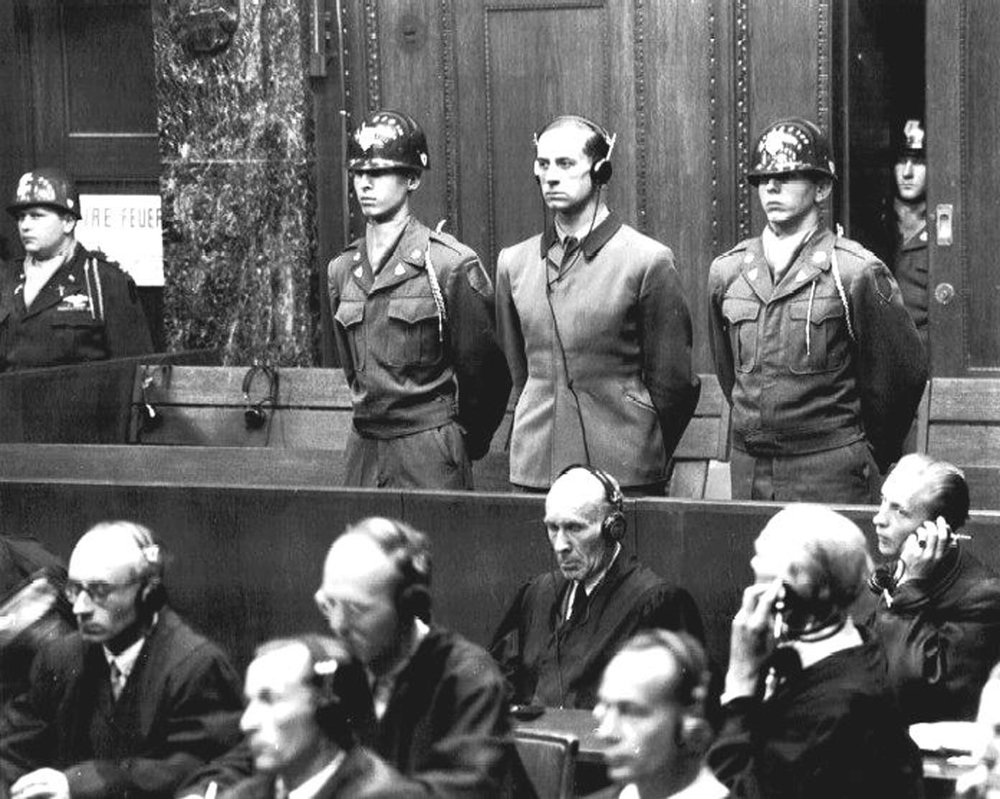 During the Nuremberg war criminal trials, one of the charges laid during the Doctors' trial was performing medical experiments without the subjects' consent. This led to the establishment of the Nuremberg Code, a key doctrine in bioethics research.   Wikimedia Commons  (public domain)
