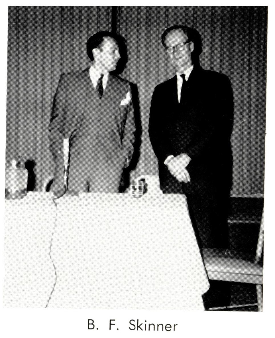 The behaviourist B.F. Skinner (right) at Lausanne Collegiate School in 1964.     Lausanne Collegiate School Archives/Wikimedia Commons  (CC BY-SA 4.0)