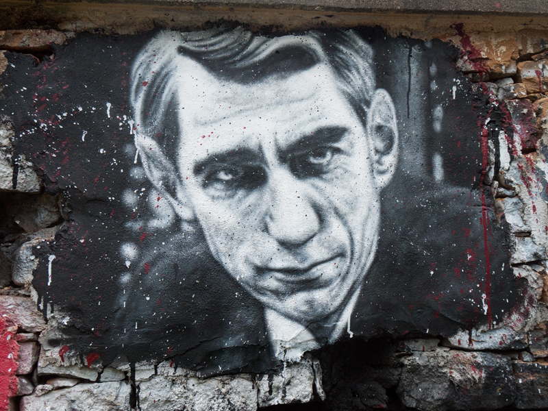 A painted portrait of Claude Shannon, the 'father of information theory' photographed at the Abode of Chaos near Lyon, France.   Thierry Ehrmann/Flickr  (CC BY 2.0)