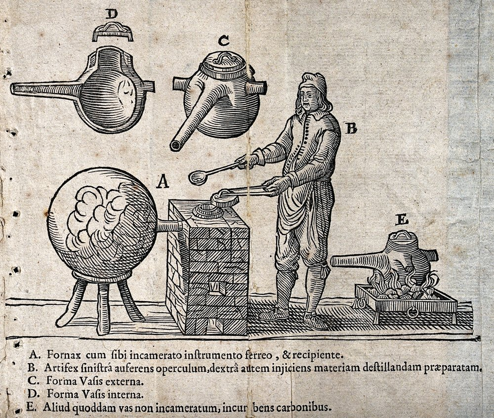 An alchemist at a furnace with a large 'receiver' (a vessel for use in distillation), with diagrams of alchemical apparatus. Woodcut. Johannes Rudolph Glauber, 1658.   Wellcome Images/ Wikimedia Commons .