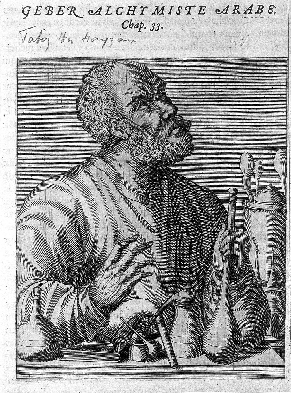 Engraving of Jabir ibn Hayyan Geber, an Arabian alchemist, from the Pleasures and Lives of Illustrious Men, Andre Thevet, 1584.   Wellcome Images/Wikimedia Commons .
