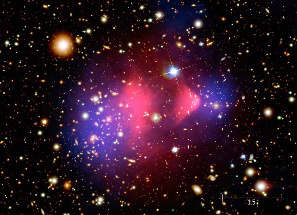 This composite image of the bullet galaxy cluster, also known as 1E 0657-56, shows the visible light from galaxies overlaid with x-ray emissions in pink and the probable distribution of dark matter in blue.   NASA/Wikimedia Commons  (public domain)