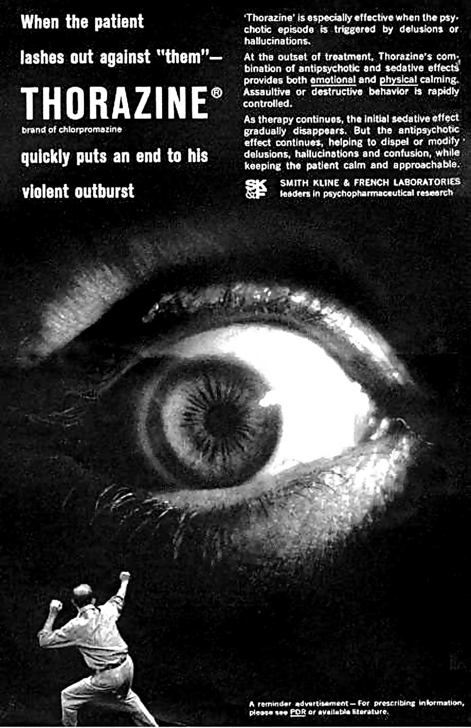 1960s advertisement for Thorazine, a brand of chlorpromazine, which was used to treat the psychotic symptoms of schizophrenia.   Unknown author/Wikimedia Commons  (public domain)
