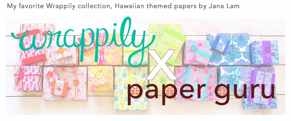 - Our CollaborationWrappily is a paper company in Maui who utilizes old fashion printing presses to create eco-friendly wrapping papers. They work closely with designers from around the world for selecting patterns and print them on newsprint which can be recycled up to 7 times.Upon communicating through emails few times, Sara and I finally met back in March 2017, I was inspired by her passion on producing beautifully designed papers while being eco-conscious about process of making them.This collaboration came at the perfect time as I was also looking for unique and interesting papers for my upcoming gift wrapping projects. We plan on introducing new ideas every other month and there will be discount promo codes on Wrappily's selected papers.