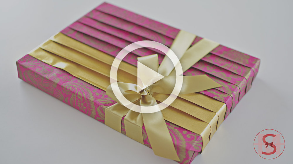 ASMR - The Sound of Gift Wrapping ~Beautiful Straight Pleats Design with a Gold Accent~