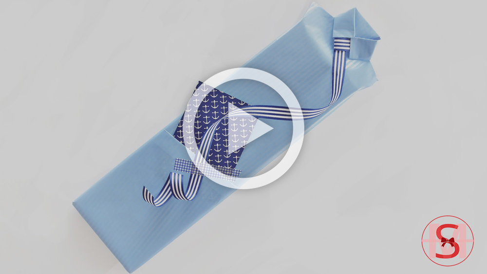 Stylish Shirt Style Gift Wrapping for Father's Day Using a Paper Ribbon