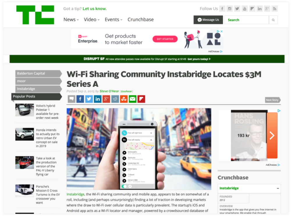 Instabridge's series A funding round got featured on TechCrunch