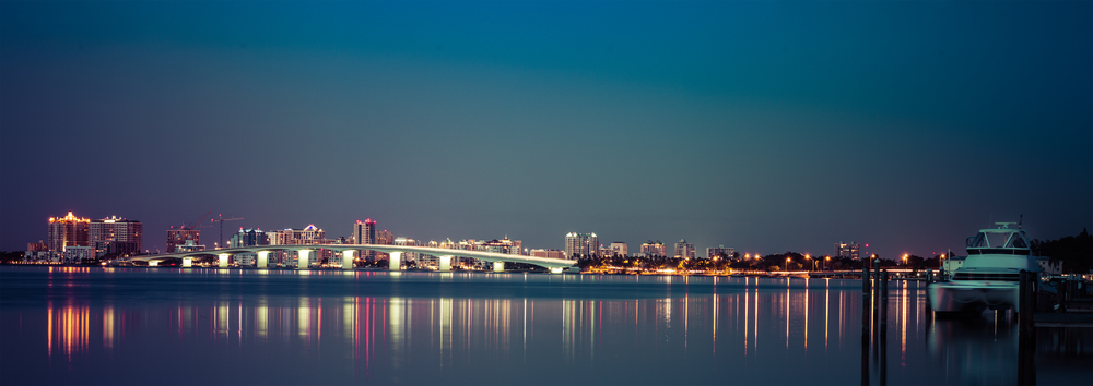 Ringling Bridge and Sarasota at Night