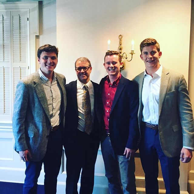 Alpha Nu members Tom O'Hara, Will DeVries, and Conor Law had the opportunity to meet KU's Chancellor Girod at the Fraternity Chancellor Dinner tonight!