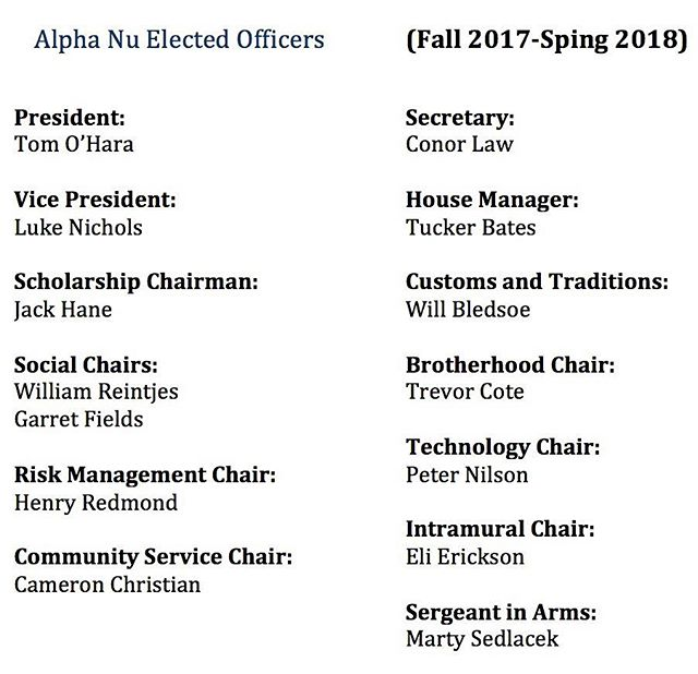 Congratulations to the newly elected officers for the remainder of Fall 2017-Spring 2018!