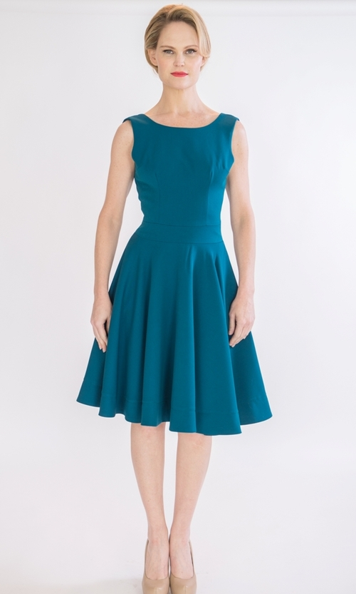 Full circle cocktail dress with open back — SYLWIA