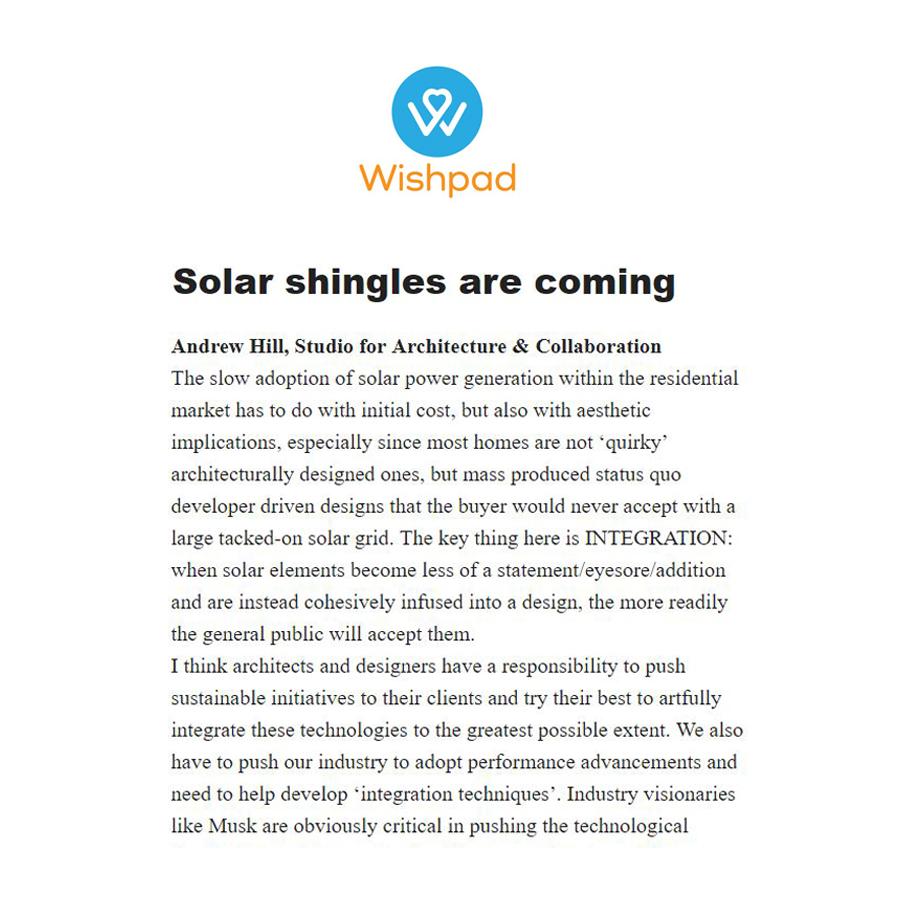 Wishpad Solar Shingles