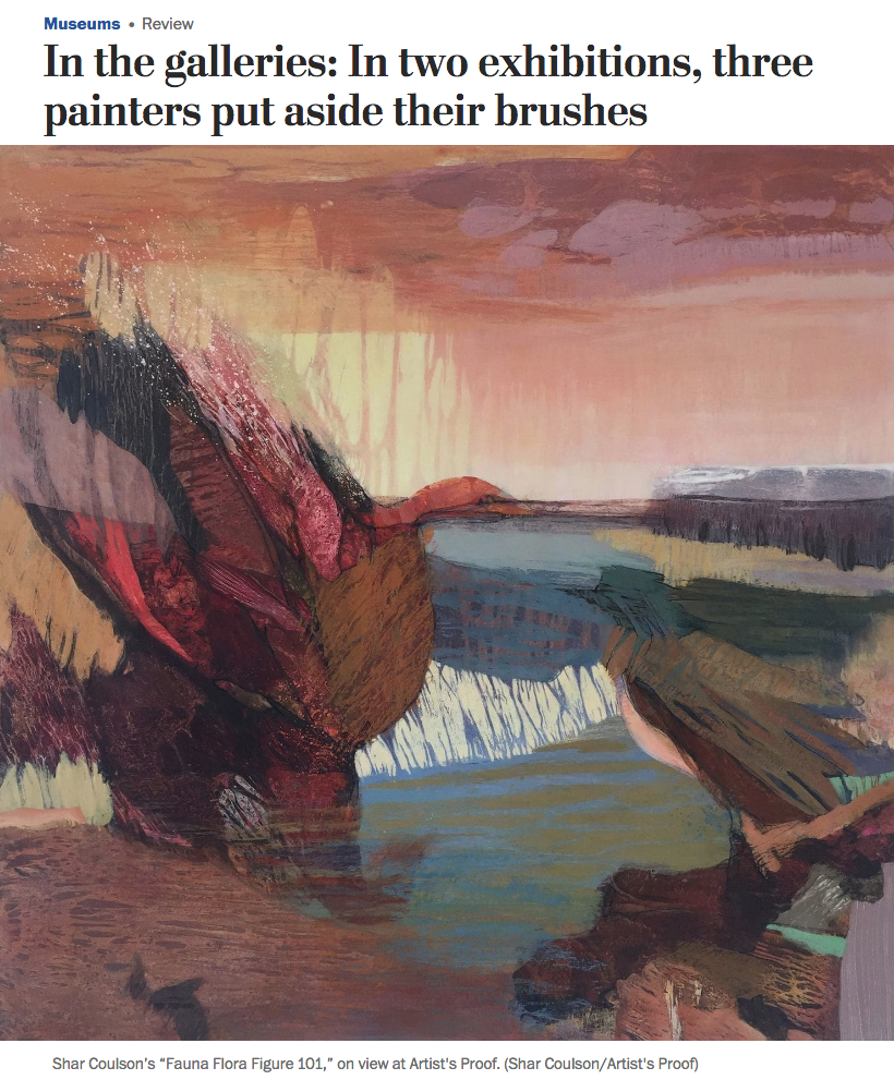 "WASHINGTON POST     Painters Mostly Put Aside Brushes   ""The completed pictures feel delicate yet physical, combining muted hues and robust gestures. Coulson's homages to…..  Review by Mark Jenkins"