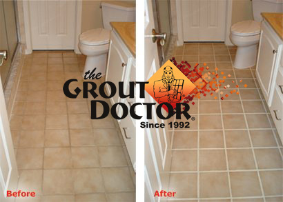 Before and After Grout Recoloring/Staining