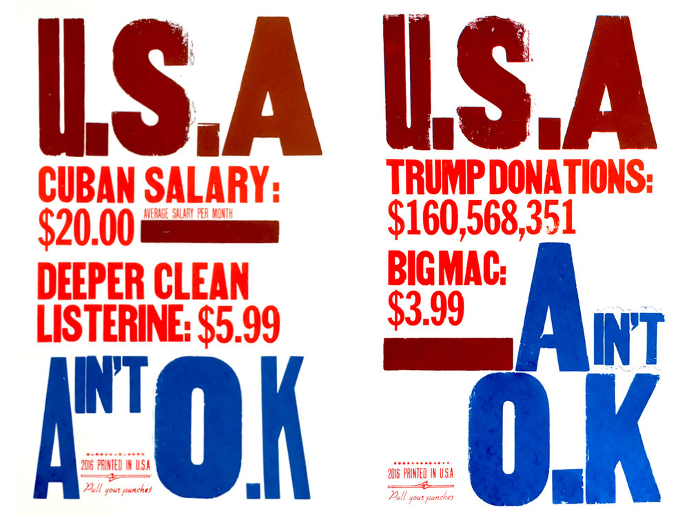 USA ain't OK/Cuba (left), USA ain't OK/Donations (right)