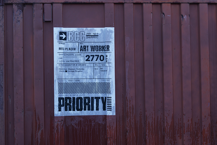 Priority shipping  (installation detail) Rooty Hill Works Depot, NSW AUS Size: 70 x 100cm (27.5 x 39in) Medium: Acrylic screen print  (serigraph) from letraset positive Photo:  Michael Corridore
