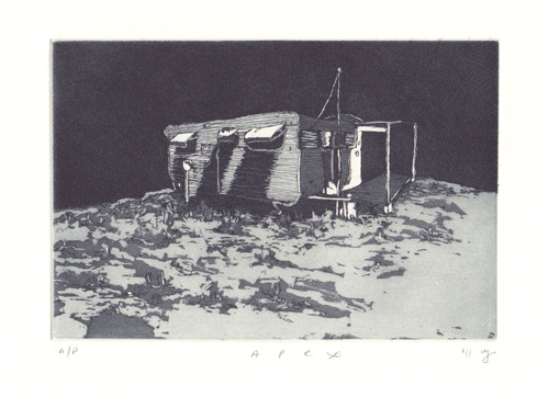 Apex  2011 Etching and aquatint on Hahnemuehle, edition 10, 260 x 240mm. Printed by Antonia Aitken at The Art Vault