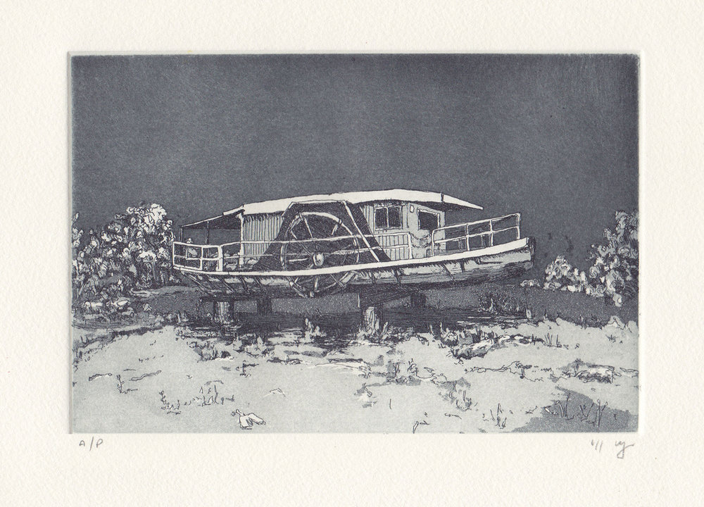 No Tide  2011 Etching and aquatint on Hahnemuehle, edition 10, 260 x 240mm. Printed by Antonia Aitken at The Art Vault