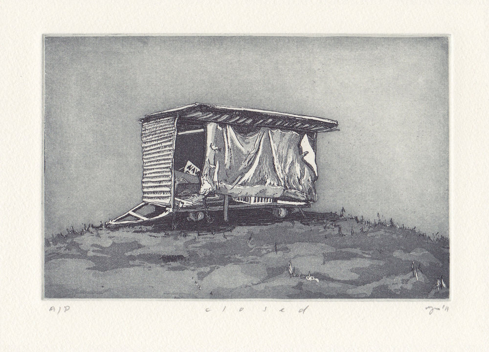 Closed  2011 Etching and aquatint on Hahnemuehle, edition 10, 260 x 240mm. Printed by Antonia Aitken at The Art Vault