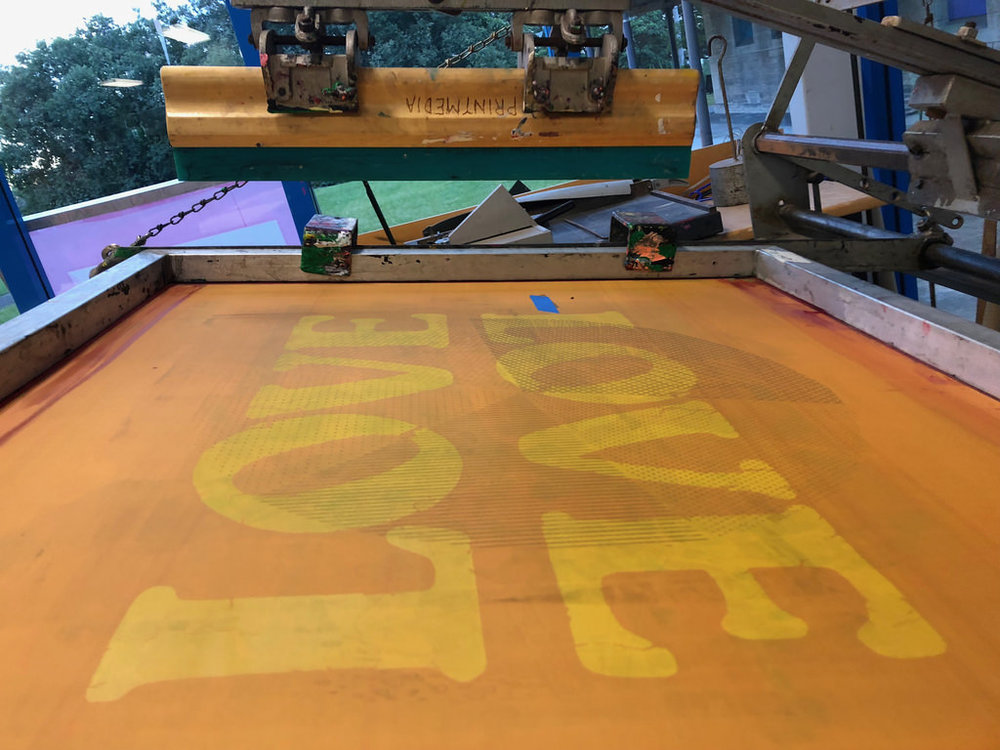 Screen printing some  LOVE  at  SCA