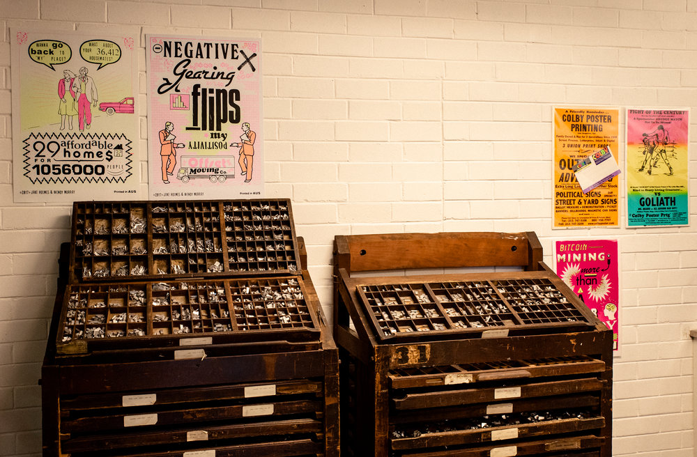 Some posters from the Colby Poster Printing Company (L.A./USA) in the studio / Photo: Sarah Lorien