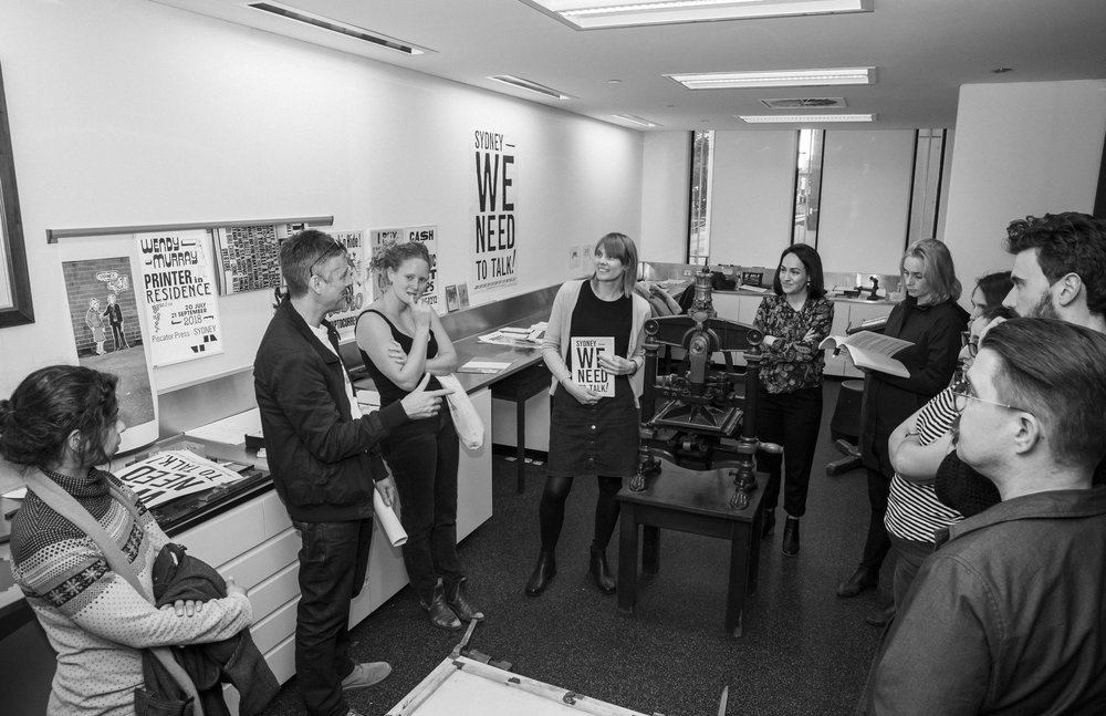 Presenting the draft book layout, drawings and letterpress artwork to the Urban Crew / Photo: Sarah Lorien