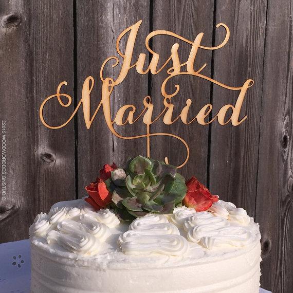 Wedding Cake Topper Just Married Woodword Design Studio