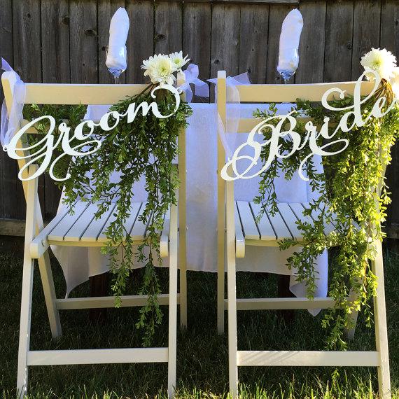 Wedding Chair Signs Decoration - Bride u0026 Groom & Wedding Chair Signs Decoration - Bride u0026 Groom u2014 Woodword Design Studio