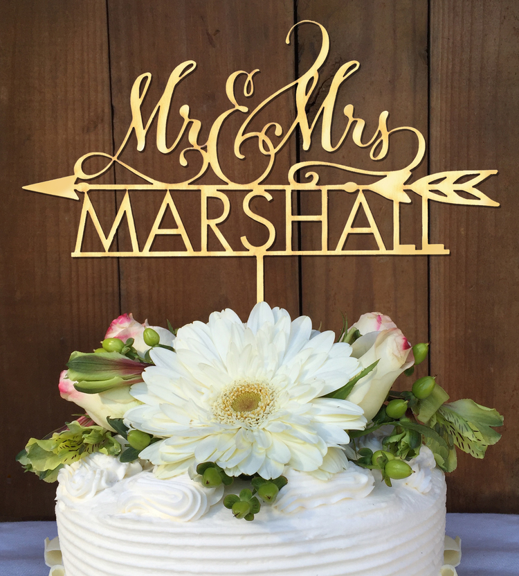 Personalized Mr & Mrs Wedding Cake Topper with Arrow — Woodword ...