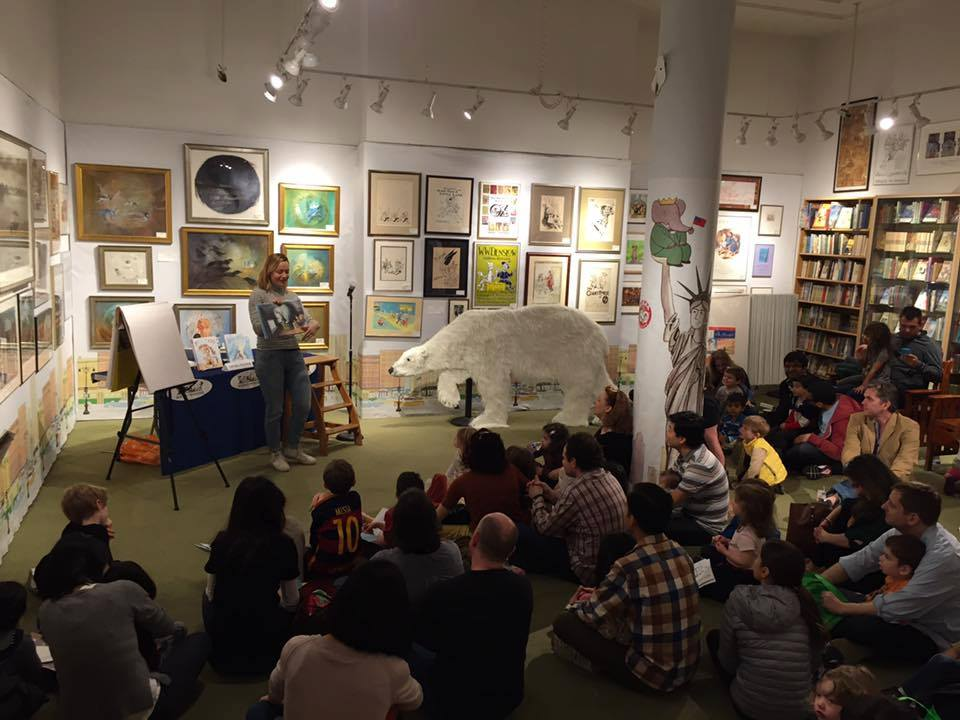 Reading at Books of Wonder with a life sized polar bear
