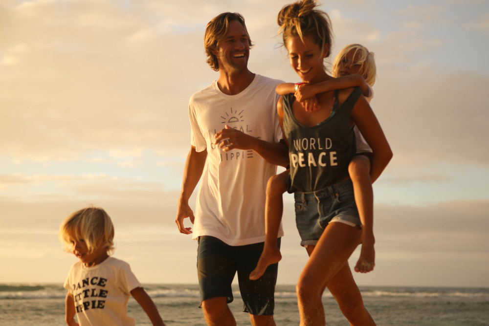 Family walk on a Beach