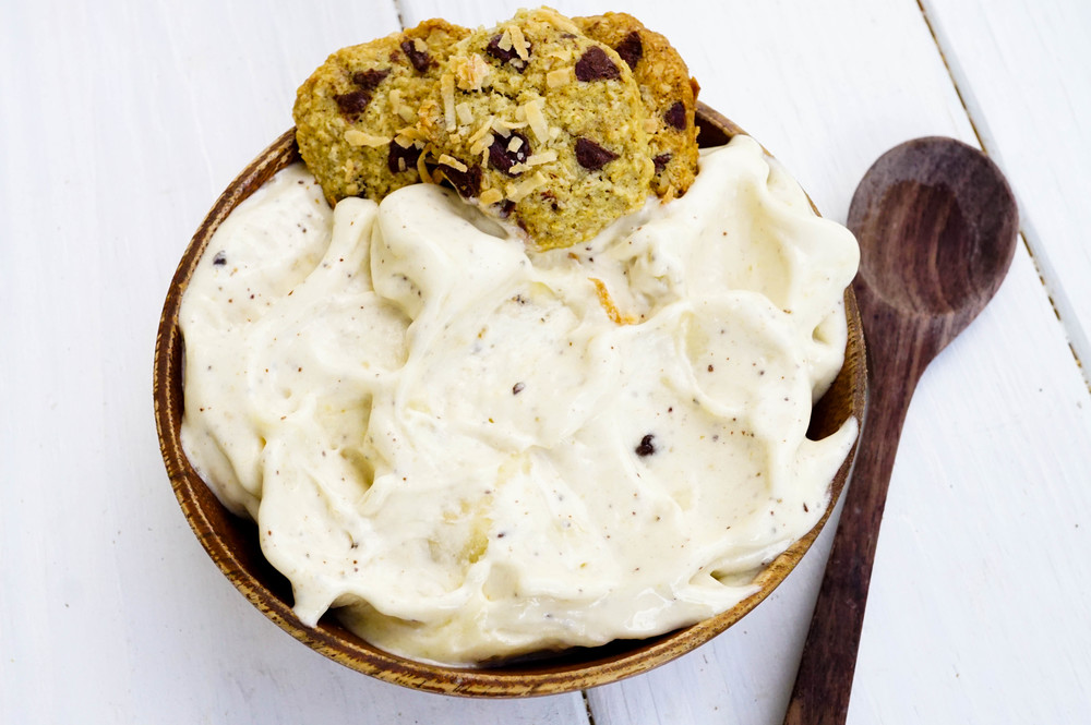This is what the texture should be close to! This is Banana Chip Nice Cream :)