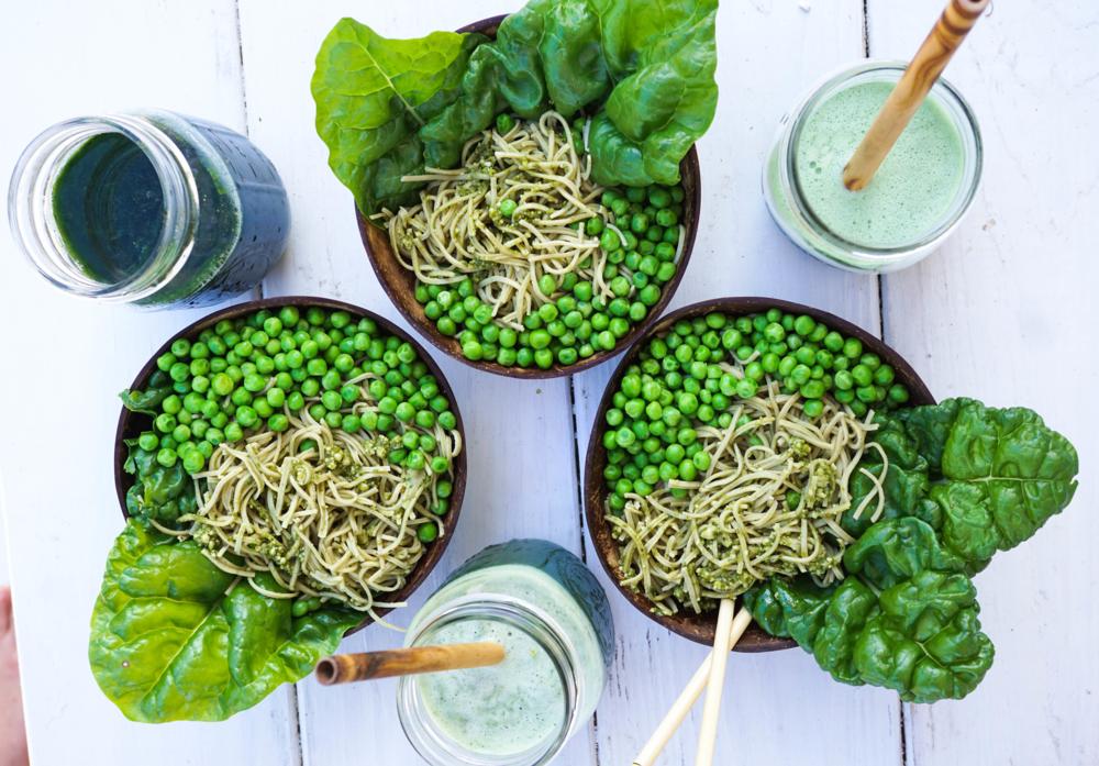 Edamme GF Pasta with Vegan Pesto and Swiss Chard Wraps — earthyandy