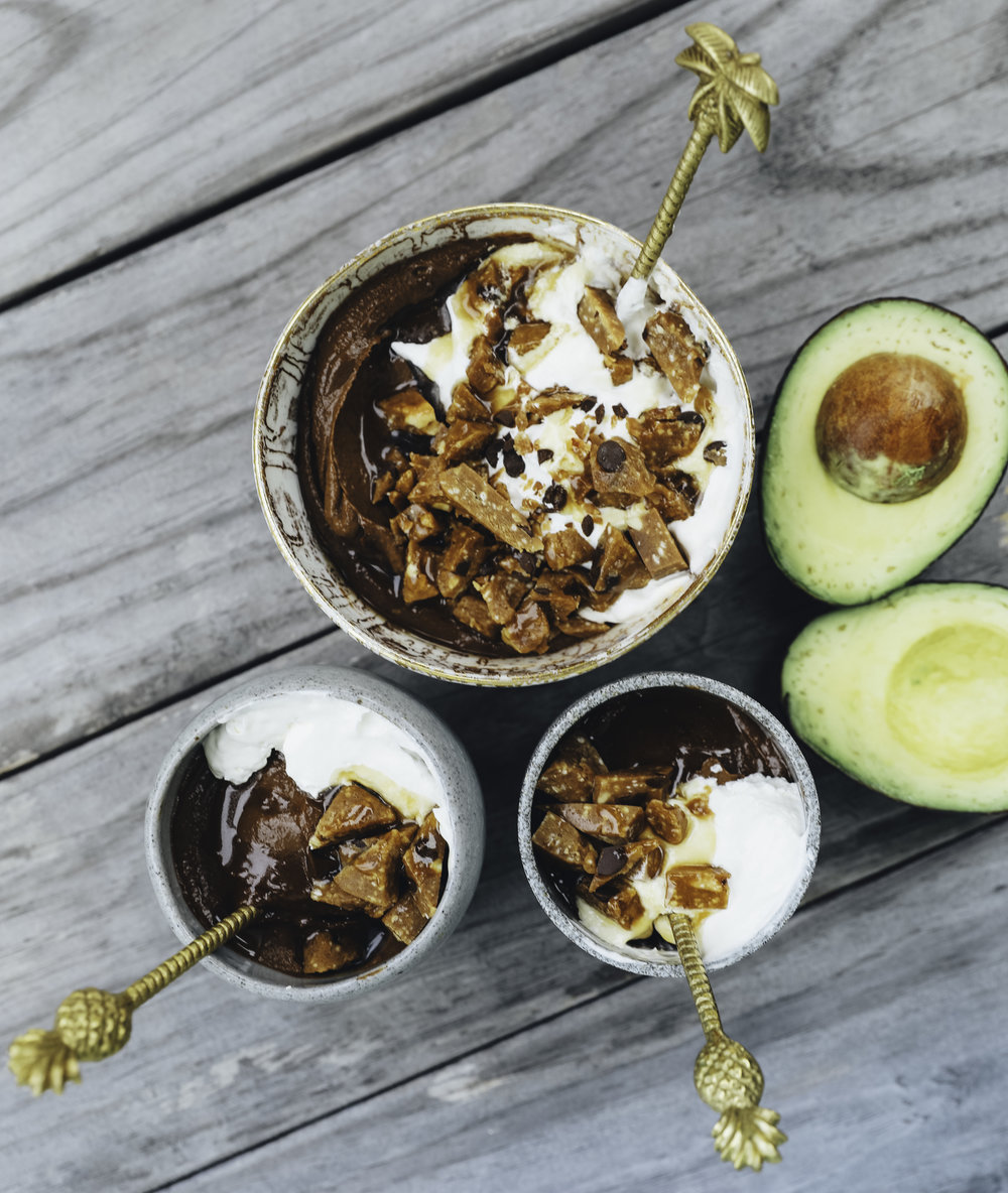 Chocolate Peanut Butter Avocado Mousse, Coconut Whipped Cream, and chopped GoMacros!