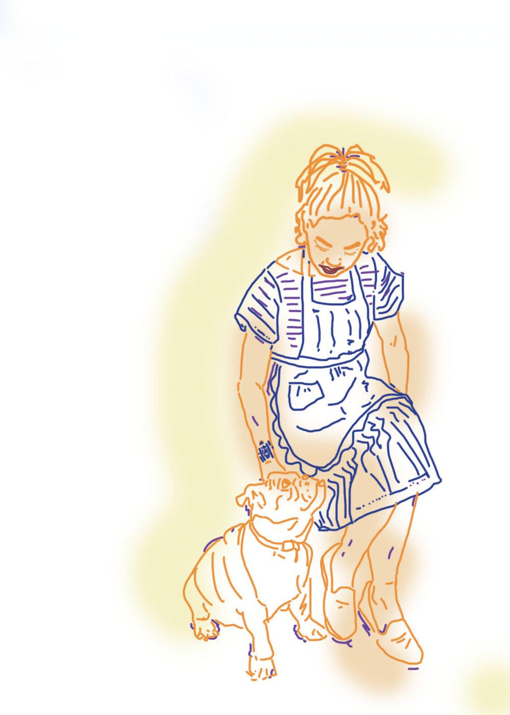 Illustration of Kim Davalos by Kenta Thomas