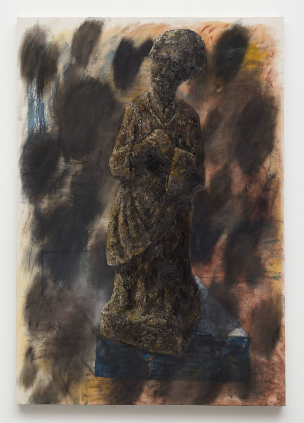 Penitent Wooden Figurine,  2014  Oil on canvas  65 x 45 inches