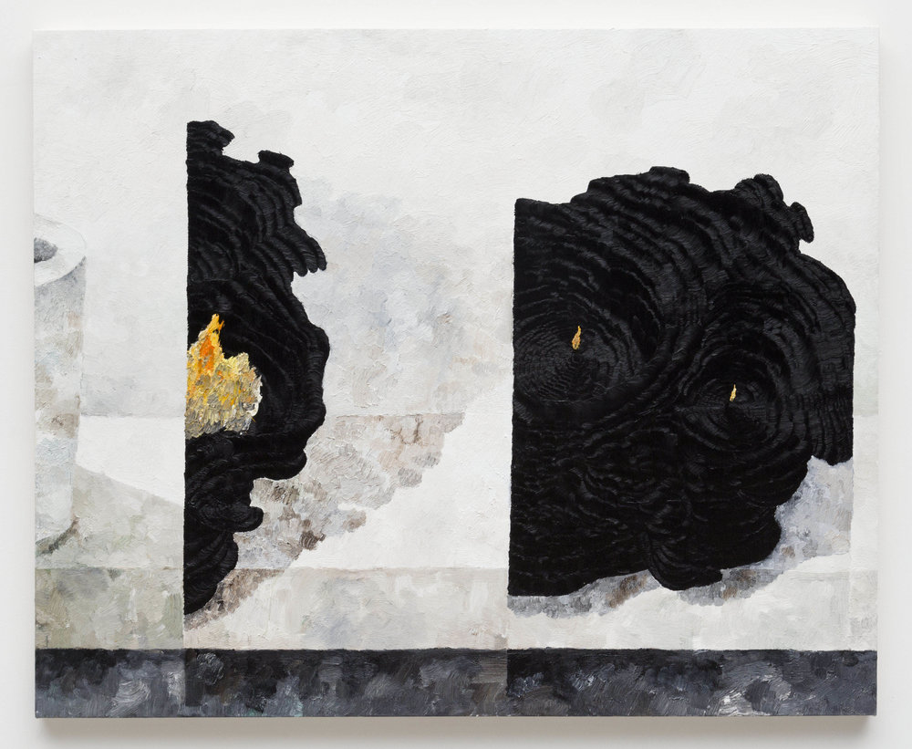 Combustible Black Forms , 2017  Oil on canvas  48 x 60 inches