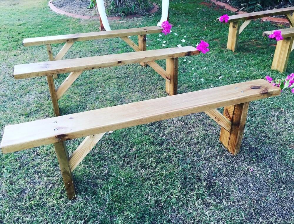 Wooden Bench Seats $30 each or 6 for $150