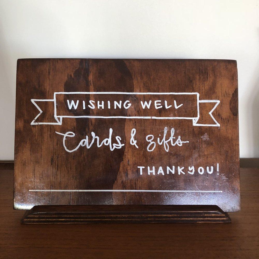 Wishing Well Sign $10