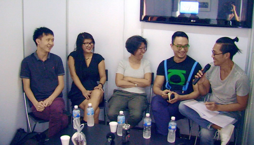 "Panel Discussion, ""Economy of Need: Artist-Writers of Singapore"", Gillman Barracks, Singapore, 2016. L-R: Ho Rui An, Megan Miao, Susie Wong, Jason Wee and Michael Lee. Photo credit: Kathlyn Loke."